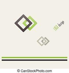logotipo, quadrados, dois