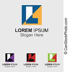 logotipo, quadrato, l, lettera, icona