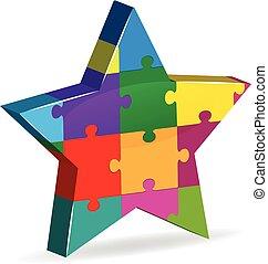 logotipo, quebra-cabeça, estrela, companhia, inovação