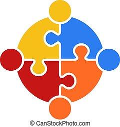 logotipo, quebra-cabeça, vetorial, trabalho equipe, círculo