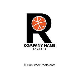 logotipo, r, basquetebol, modelo, letra