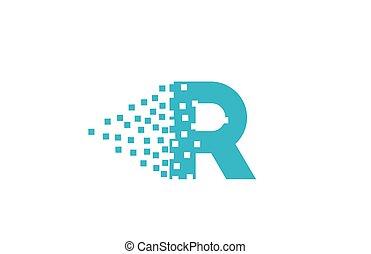 logotipo, r, gasto, companhia, pixel, incorporado, letra ...
