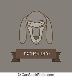 logotipo, raça, desenho, cão, bassê