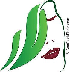 logotipo, ragazza, donna, moda, mette foglie