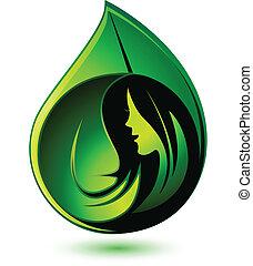 logotipo, ragazza, salute, esposizione, bellezza