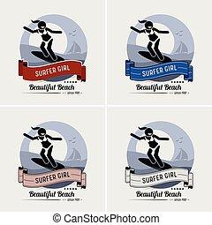 logotipo, ragazza, surfing, surfer, design.
