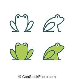 logotipo, rana, icona