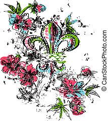 logotipo, realeza, flor