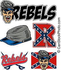 logotipo, rebeldes, colección