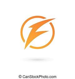 logotipo, relampago, f, letra, ícone