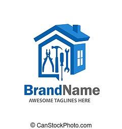 logotipo, renovación, hogar