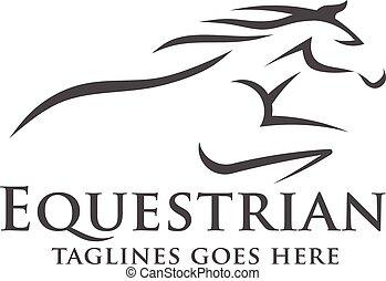 logotipo, resumen, carreras, caballo, plantilla