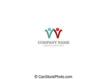 logotipo, resumen, pareja, conectar