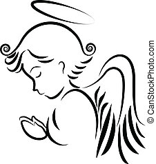 logotipo, rezando, ángel