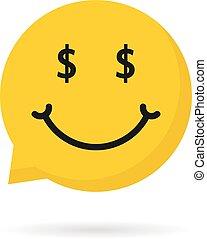 logotipo, rico, borbulho fala, emoji