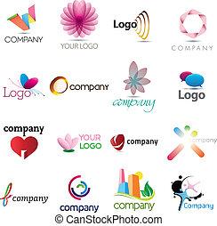 logotipo, rico, colección