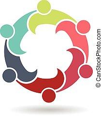 logotipo, riunione, riunione, affari, 6