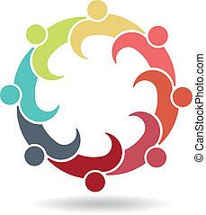 logotipo, riunione squadra, affari, 8