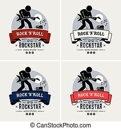 logotipo, rocha, rolo, design.