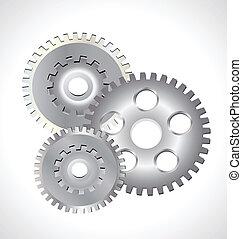 logotipo, rodas, prata, engrenagem
