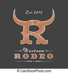 logotipo, rodeo, vector