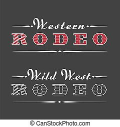 logotipo, rodeo, vector, occidental, plantilla