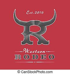 logotipo, rodeo, vector, plantilla
