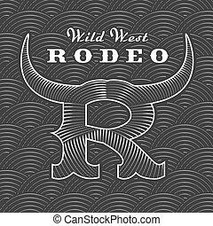 logotipo, rodeo, vetorial