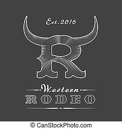 logotipo, rodeo, vetorial, modelo