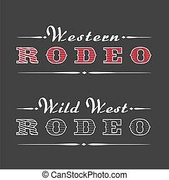logotipo, rodeo, vetorial, ocidental, modelo