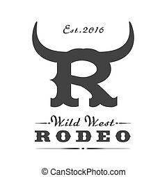 logotipo, rodeo, vettore, sport, sagoma