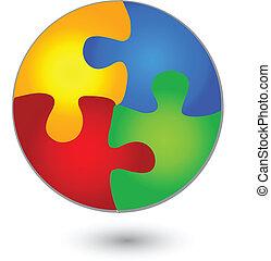 logotipo, rompecabezas, círculo, colores, vívido
