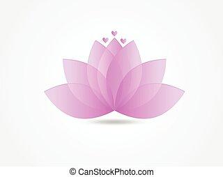 logotipo, rosa, loto, icono, flor