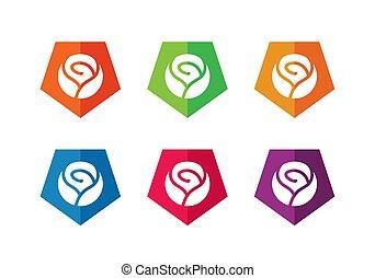 logotipo, rosa, pentagono, fiori, disegno, -, vettore, elementi, icona, sagoma