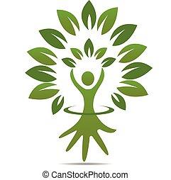 logotipo, símbolo, árvore, figura, mão