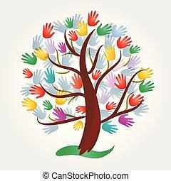 logotipo, símbolo, árvore, mãos