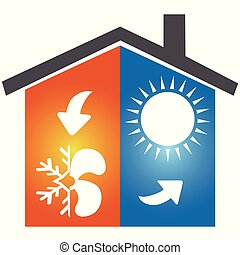 logotipo, símbolo, ar condicionado, ícone