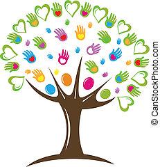 logotipo, símbolo, corações, árvore, mãos