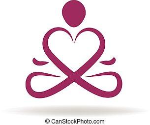 logotipo, símbolo, ioga, amor