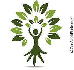 logotipo, símbolo, pessoas, árvore, mão