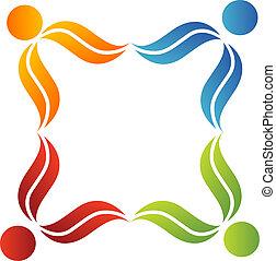 logotipo, símbolo, trabajo en equipo