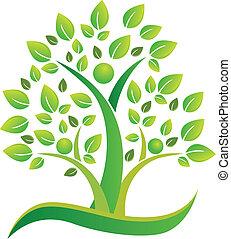 logotipo, símbolo, trabalho equipe, árvore, pessoas