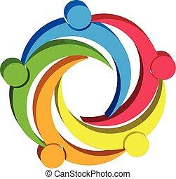 logotipo, símbolo, trabalho equipe, desenho