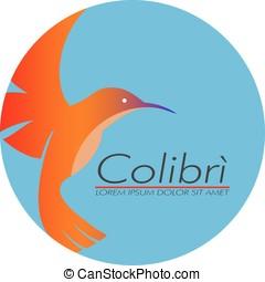 logotipo, símbolo, vuelo, Colibrí,  colibri