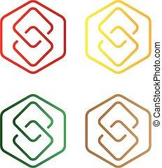 logotipo, s, lettera