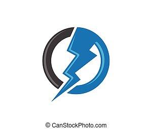 logotipo, sagoma, lampo