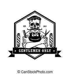 logotipo, sagoma, salone, cranio, vendemmia