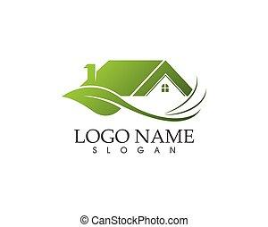 logotipo, sagoma, vettore, natura, costruzione, casa