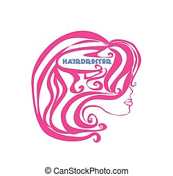 logotipo, salão, cabeleireiras