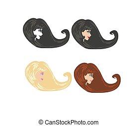 logotipo, salão, jogo, cabeleireiras